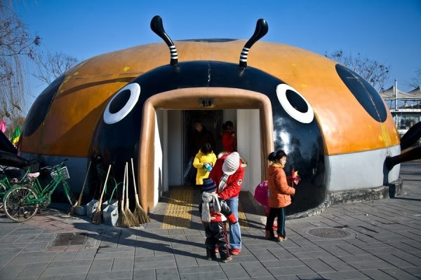 Baño-mariquita en el parquet Chaoyang, Beijing
