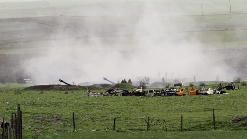 Armenian artillery position in Martakert, Nagorno-Karabakh. [EPA]