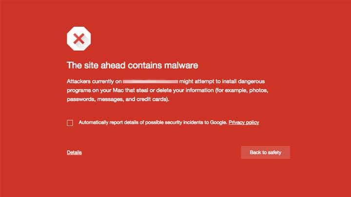 Aviso de Malware no Chrome