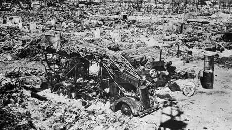 La ciudad de Hiroshima después de ataque con bomba nuclear, 1945.