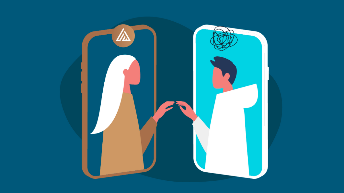illustration with two smartphones person on screen of each one reaching out to each other