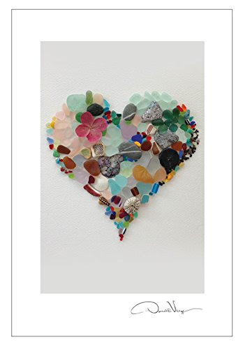 sea glass heart postcard pack
