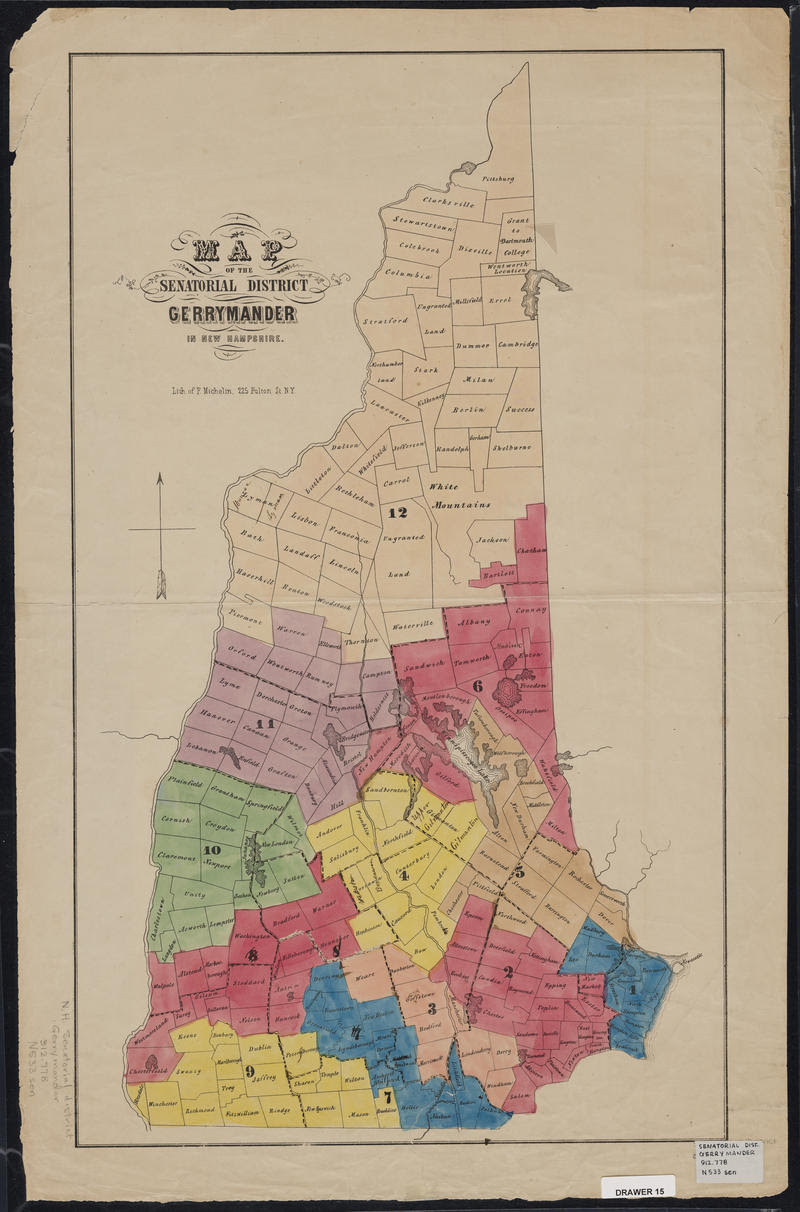 Colored map of gerrymandered Senate districts in 1875