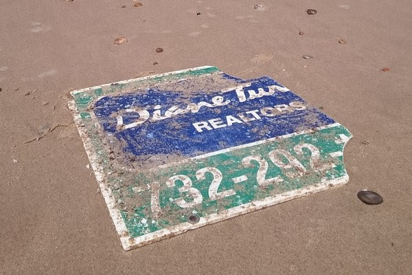 "A real estate sign that was washed away from a town on the Jersey Shore during Hurricane Sandy in 2012 <a href=""https://www.nytimes.com/2018/05/31/nyregion/sign-hurricane-sandy-new-jersey-france.html"">was discovered this month on a beach in France</a>, more than 3,500 miles away."