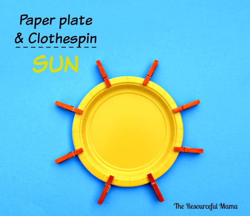 This kids craft is so easy to make.  Color mini clothespins orange and attach to a small yellow paper plate.  They will be working those fine motor skills opening the clothespins.