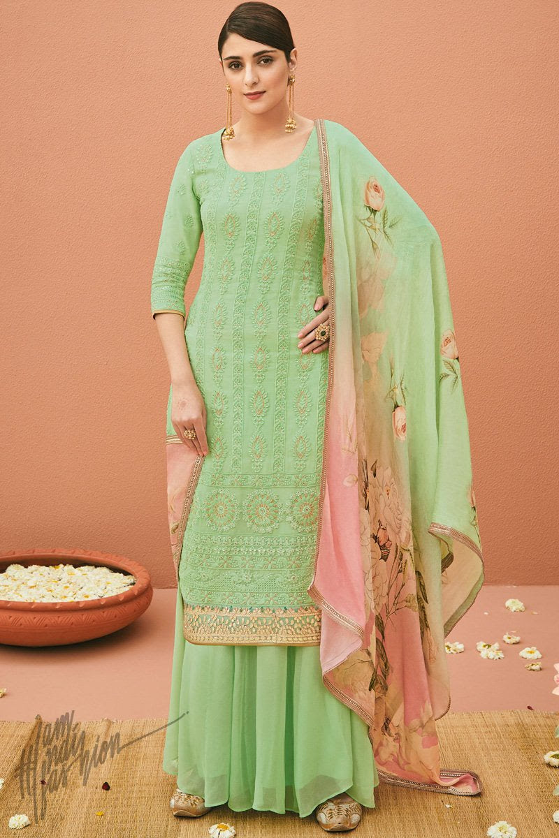 Light Jade Green Georgette Palazzo Suit