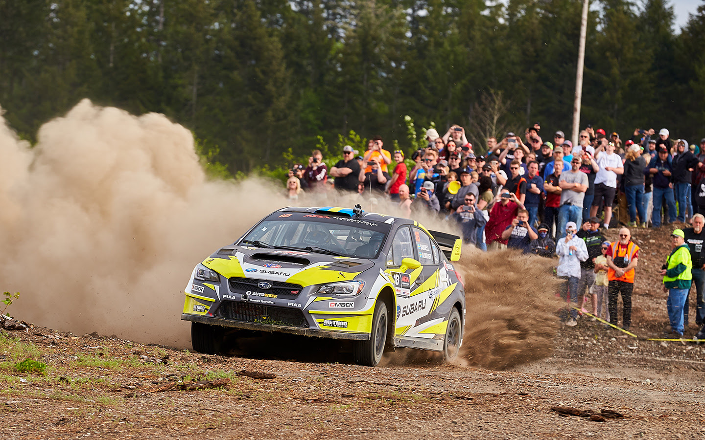 Patrik Sandell and his co-driver Per Almkvist celebrate Olympus Rally win