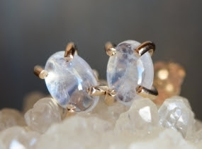 Moonstone Studs. Gold Fill Gemstone Earrings. Oval Stone Studs. Iridescent Flashy Cabochon Earrings. Delicate Everyday Gemstone Studs