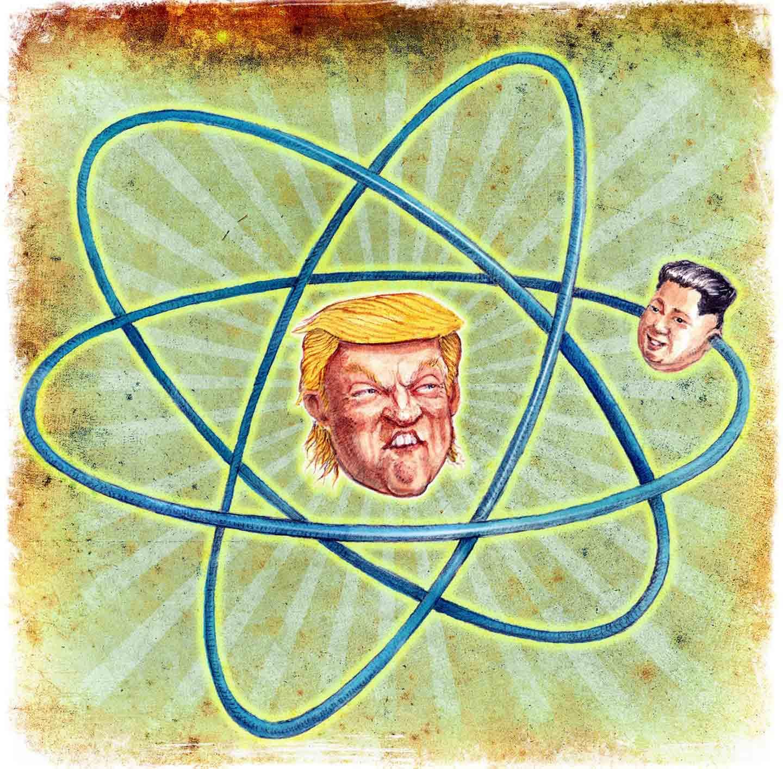 Thomas Kerr cartoon with Trump's head at center of an atom and Kim Jong Un's head orbiting