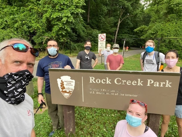 Discussing marketing and automation with the Dev team in Rock Creek Park.