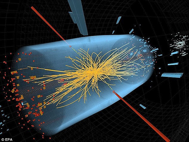 The God Particle, which is believed to be responsible for all the mass in the universe, was discovered in 2012 using a Cern's supercollider. In this image two high-energy photons collide. The yellow lines are the measured tracks of other particles produced in the collision, which helped lead to the discovery of the God particle