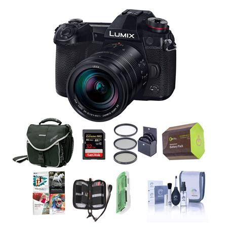 Lumix G9 Mirrorless Camera, Black with Lumix G Leica DG Vario-Elmarit 12-60mm F/2.8-4.0 Le