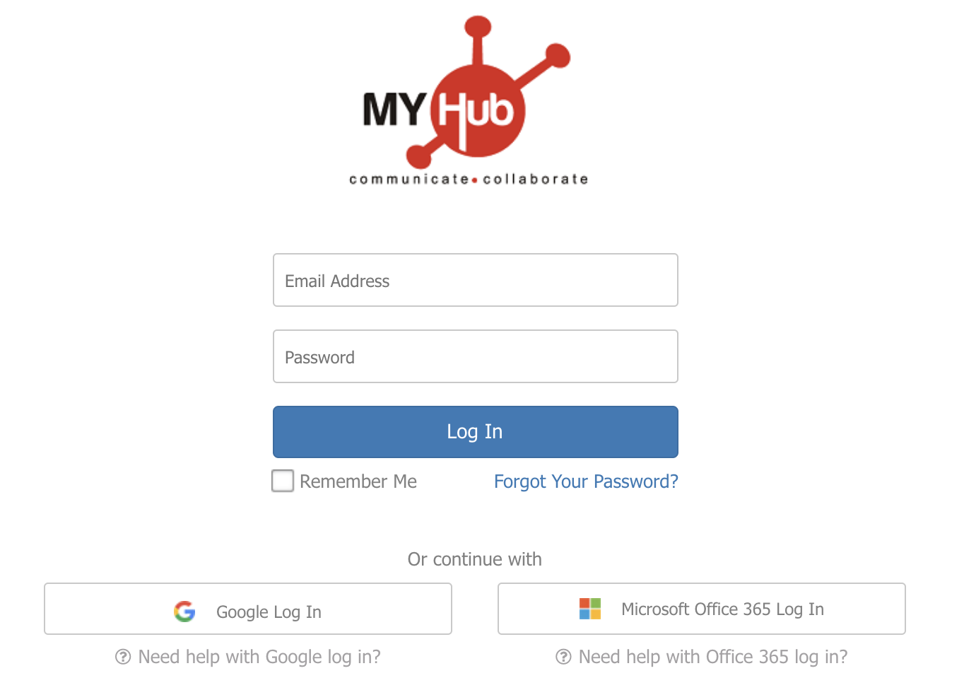 New MyHub log in page