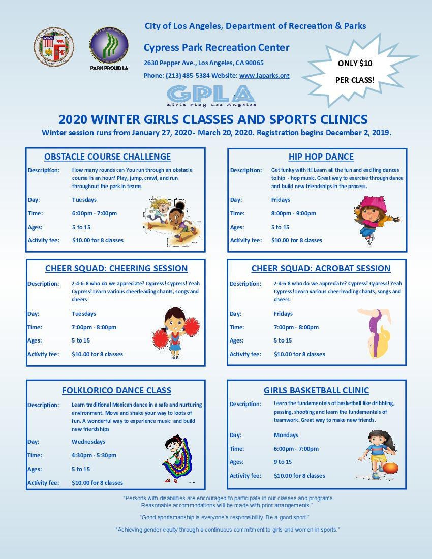 Cypress Park Girls Classes
