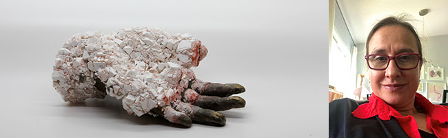 left image: white sculpture of a hand with crystals everywhere except for on the fingers; right image is a portrait of the artist