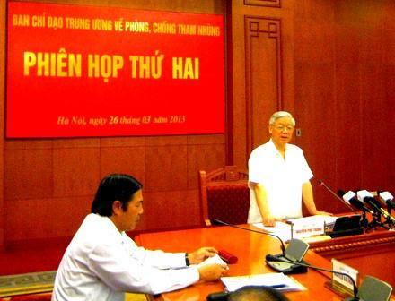 Tổng Bí thư Nguyễn Phú Trọng phát biểu tại Hội nghị toàn quốc về công tác phòng, chống tham nhũng hồi tháng 5/2014