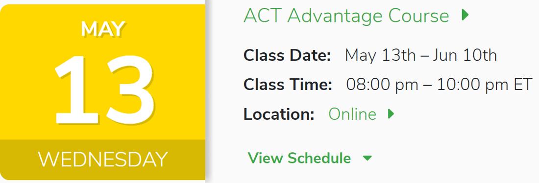 ACT Advantage May 13th