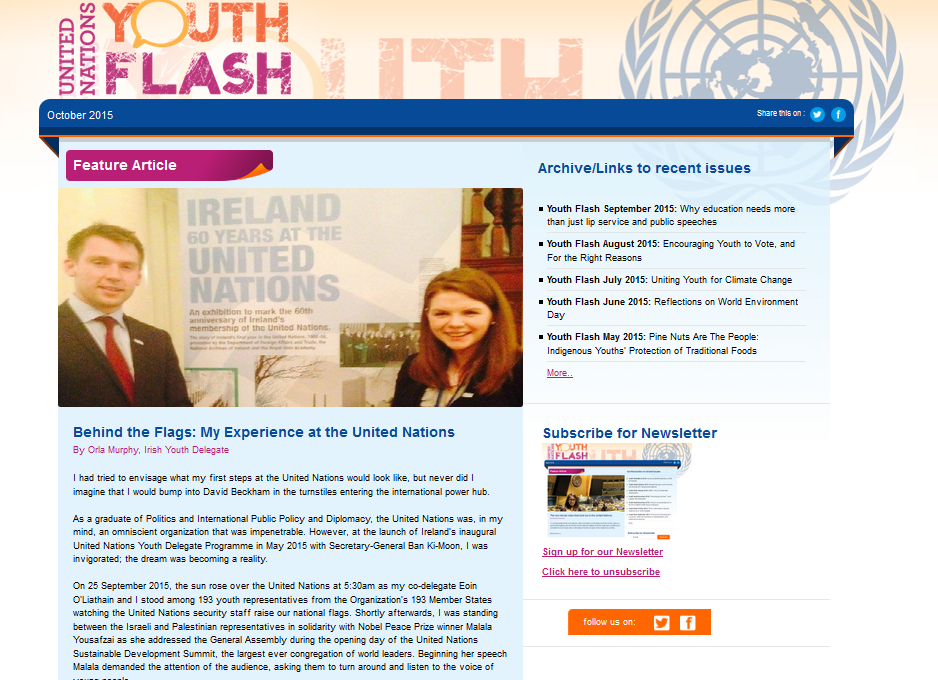 Youth Flash Newsletter, October 2015