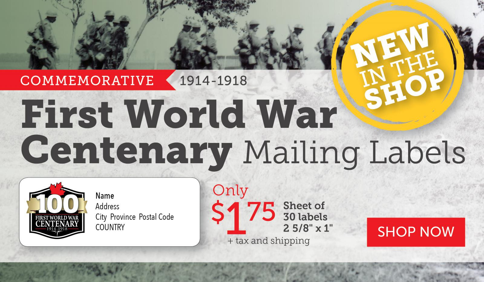 World War I Centenary Mailing Labels for $1.75 | NEW IN SHOP!