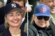Hillary Clinton in a Yankees hat at the White House in 1999 after they won the World Series, but in 1998, she was donning a Chicago Cubs hat.