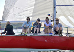J/24 Poole Girls sailing team upwind