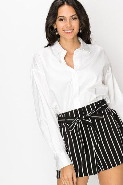Stripe high waist shorts with waist tie
