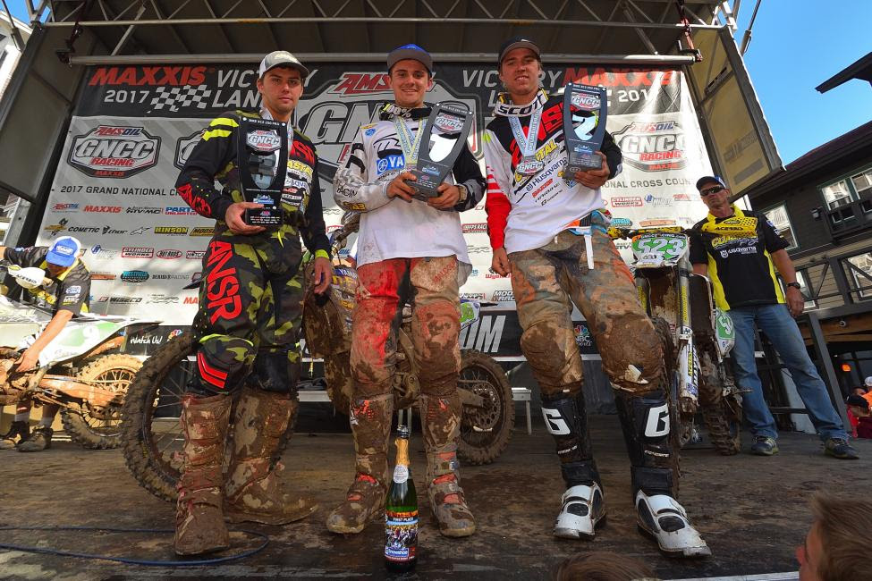 XC2 250 Pro Class Podium: (2) Craig Delong, (1) Josh Toth, (3) Layne Michael.