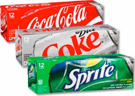 Coke, Diet Coke, and Sprite (12 pack cans)