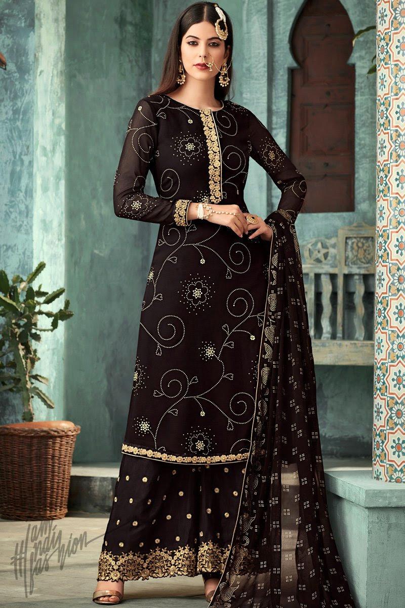 Black Georgette Party Wear Palazzo Suit