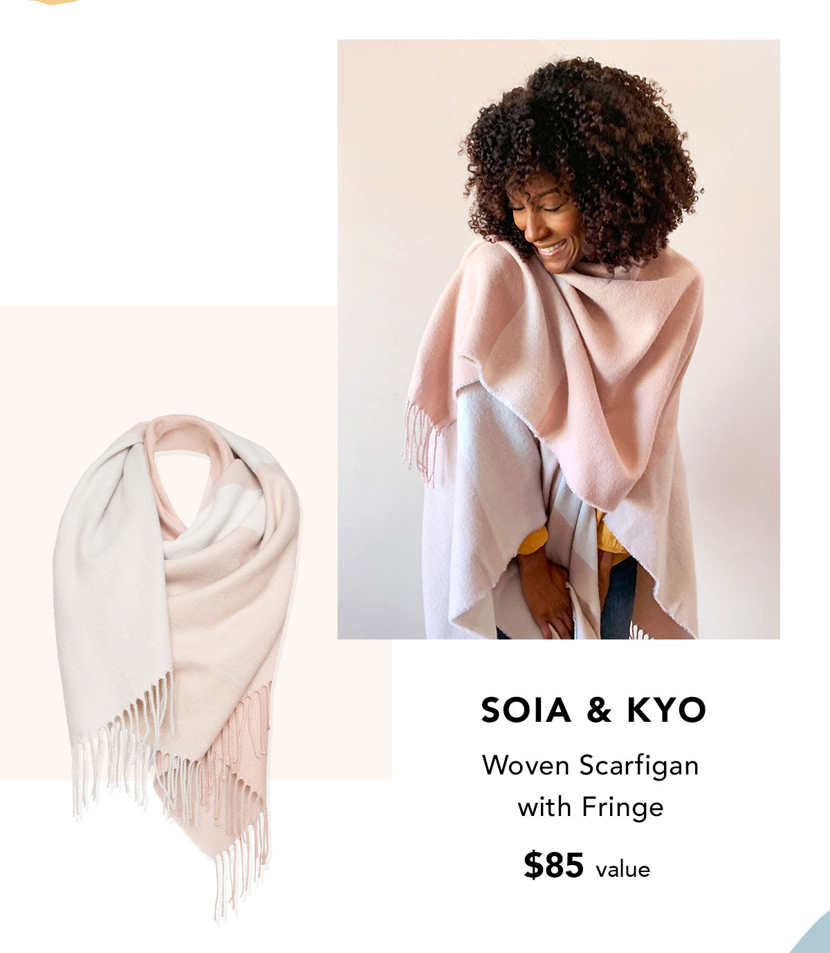 SOIA & KYO Woven Scarfigan with Fringe $85 value