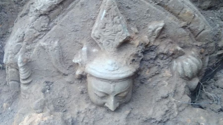 The head of the Buddha statue found by the Archaeological Survey of India at Bahronpur village in Hazaribagh on Sunday.