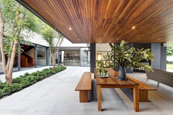 σκούρο ξύλο οροφή-πάνελ