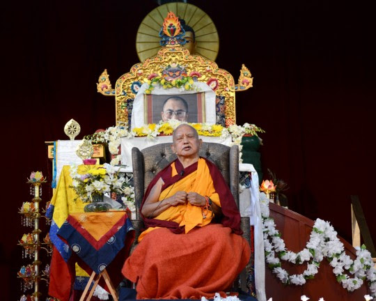 Lama Zopa Rinpoche during the public talk at the Great Stupa of Universal Compassion, Bendigo, Australia, September 20, 2014. Photo by Kunchok Gyaltsen.