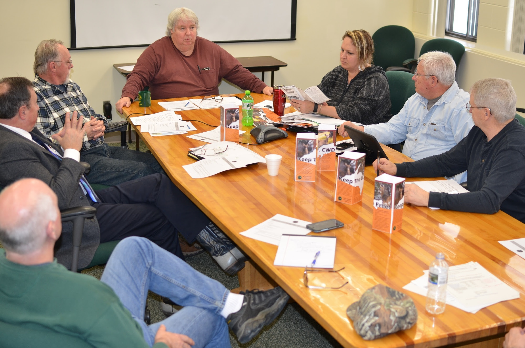 Members of the Upper Peninsula CWD Task Force meet recently in Marquette.