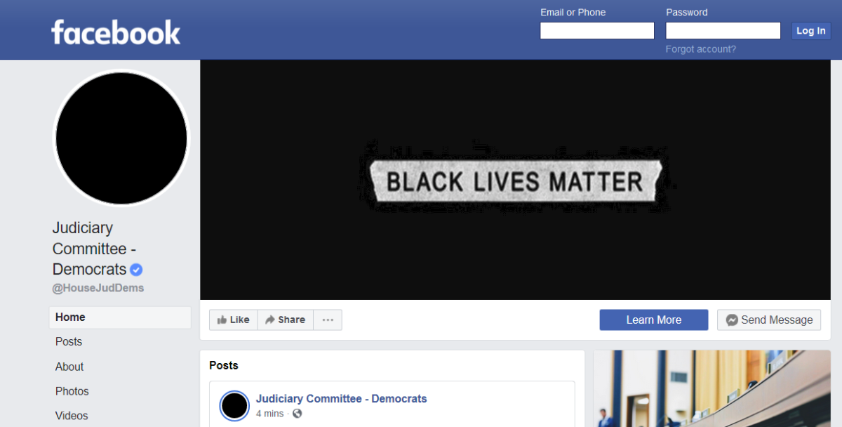 House Judiciary committee Facebook Homepage