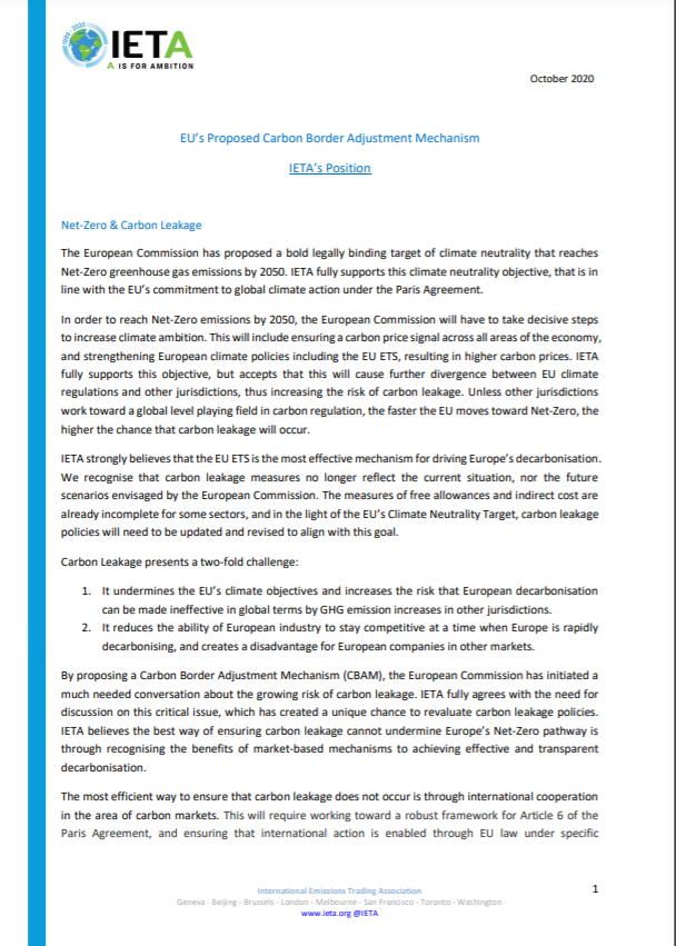 Position paper on the EU's proposed Carbon Border Adjustment Mechanism