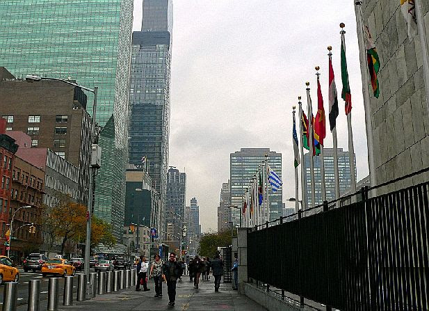 Outside the United Nations NYC, Nov. 2015.