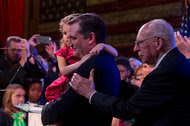 Ted Cruz, with his daughter Catherine and his father, Rafael Cruz, at his event in Stafford, Tex., on Tuesday night.