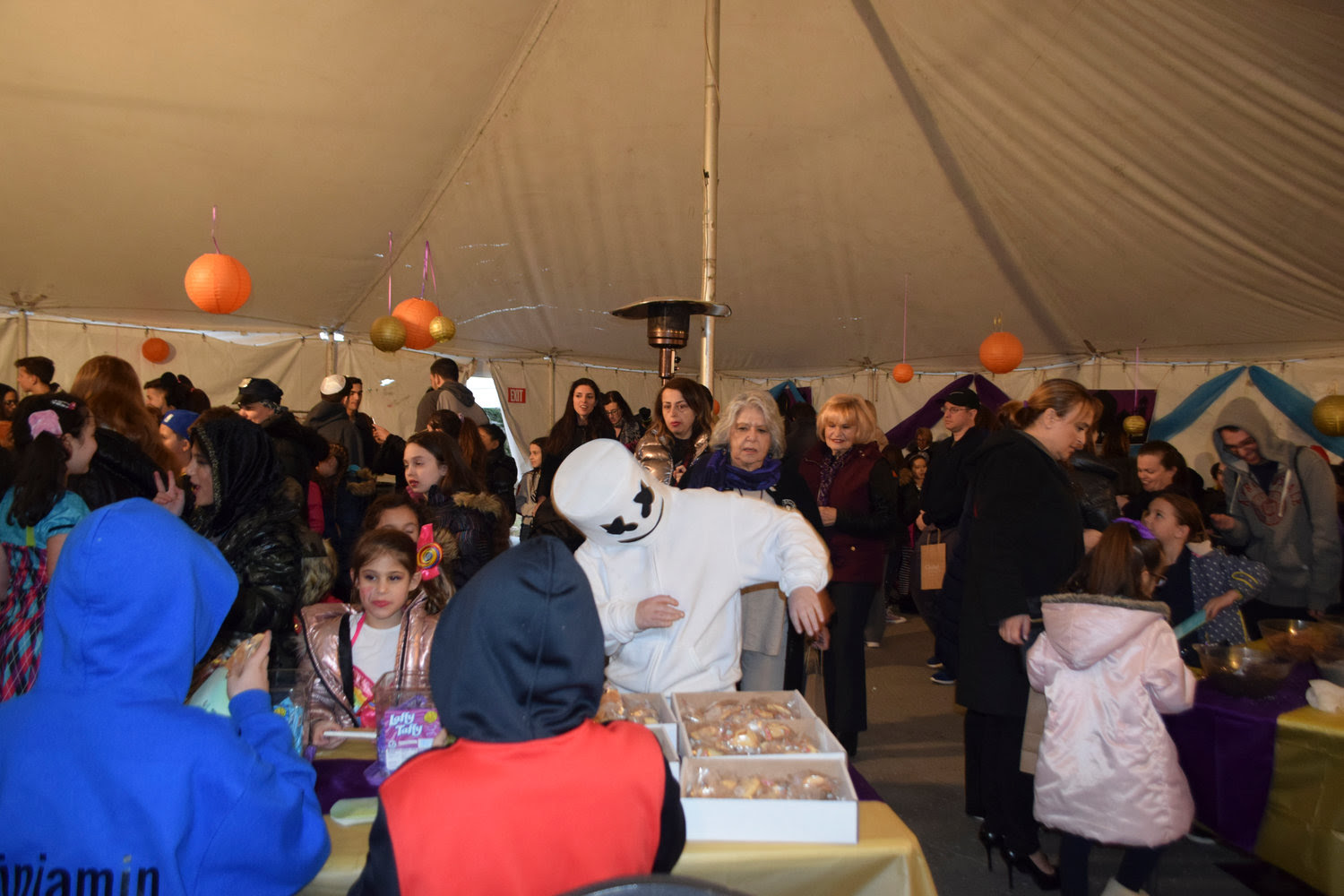 The Chabad House of Hewlett turned its backyard tent into a Persian palace for an Arabian night-themed Purim party on March 21.