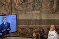 A video feed of President Obama speaking at the Royal Palace in Madrid on Sunday.