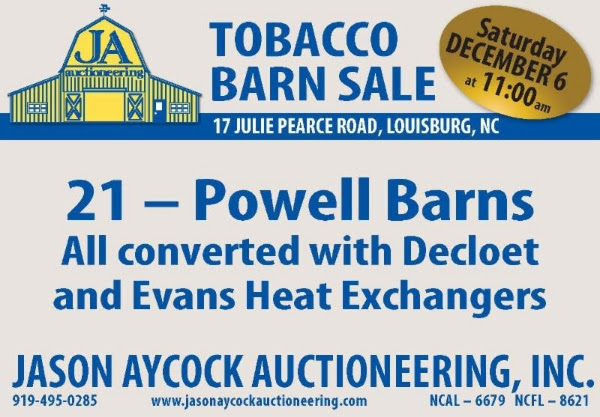 TOBACCO BARN SALE DECEMBER 6