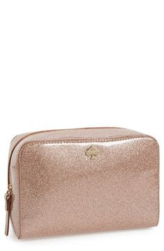 Pink glitter cosmetic bag to store all the pretty things in | Kate Spade