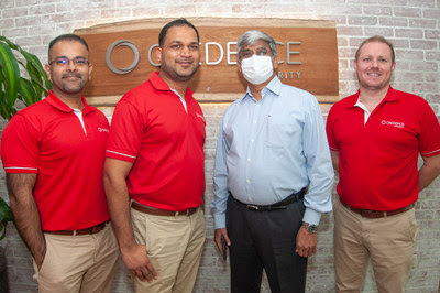Caption: (L) Philip Cherian, Regional Channel Director, Credence Security and Moe Bux, Sales Director, Credence Security and Premchand Kurup, CEO, Paramount and Garreth Scott, Managing Director, Credence Security (R)