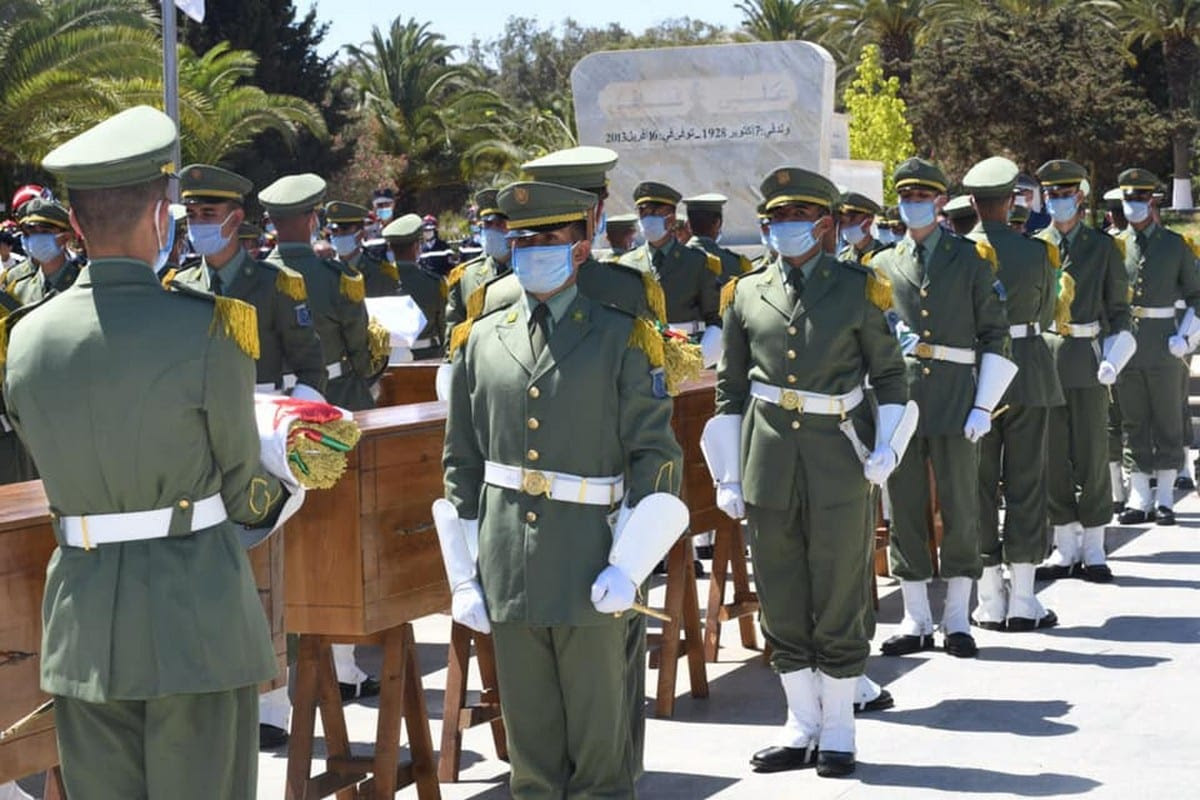 Funeral ceremony held on 5 July 2020 for the Algeria's independence fighters killed during the Algerian popular resistance against French colonialism in Algiers, Algeria [ALGERIAN PRESIDENCY/Anadolu Agency]