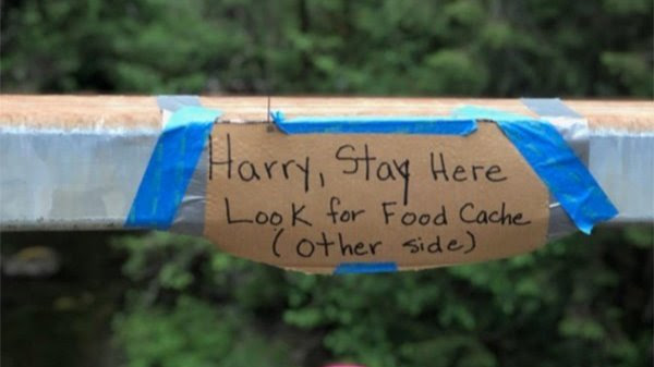 A cardboard sign in the wilderness
