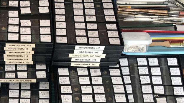 Partículas de Hiroshima classificadas em caixas com diferentes anotações