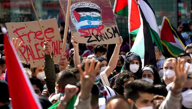Demonstranten auf einer Anti-Israel-Demo in Berlin.
