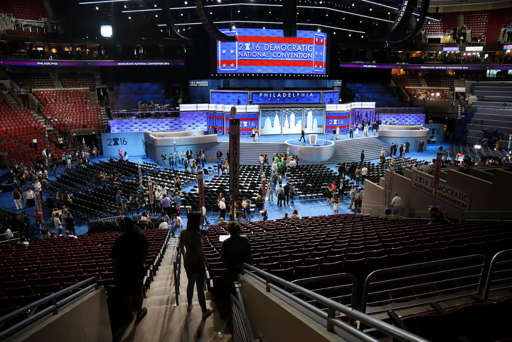 Crews set up on Sunday for the Democratic National Convention this week in Philadelphia.