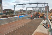 The Ordsall Chord being prepared for track to be installed