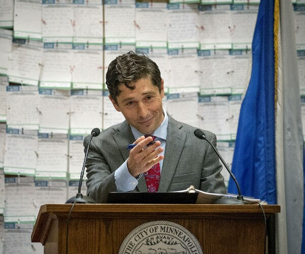 Minneapolis Mayor Jacob Frey gives his first budget address in front to notes sent to him